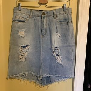 Dresses & Skirts - Distressed Denim Pencil Skirt